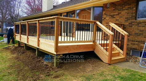 Cabin Blue Prints by Deck Resurface With Cedar And Cedar Post Rail With Round