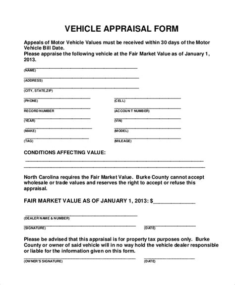 sample vehicle appraisal form  documents