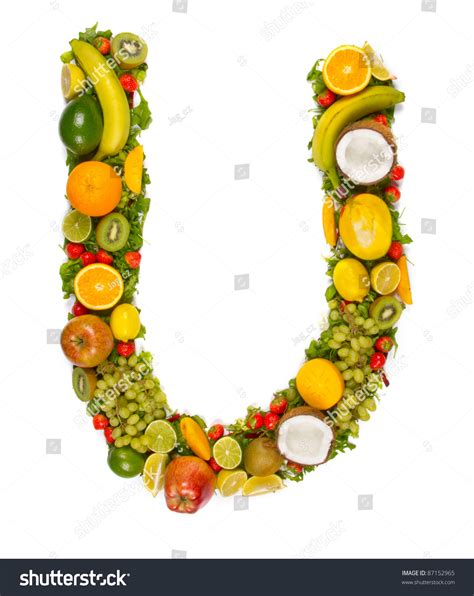 u letter fruit fruit alphabet letter u stock photo 87152965