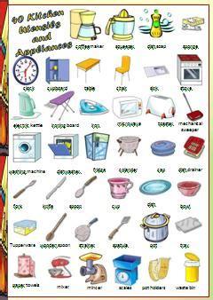 kitchen furnitures list kitchen utensils and appliances worksheet