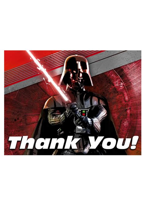 Thank You Card Starwars 13 wars thank you cards pack of 8