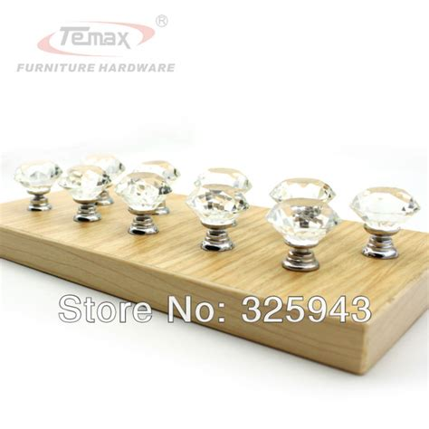 bedroom furniture drawer pulls 2pcs 40mm clear glass crystal kitchen cabinets dresser