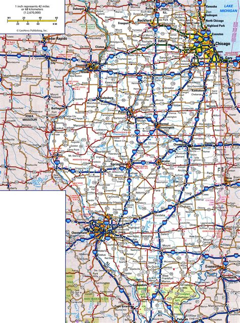 road map illinois usa large detailed roads and highways map of illinois state