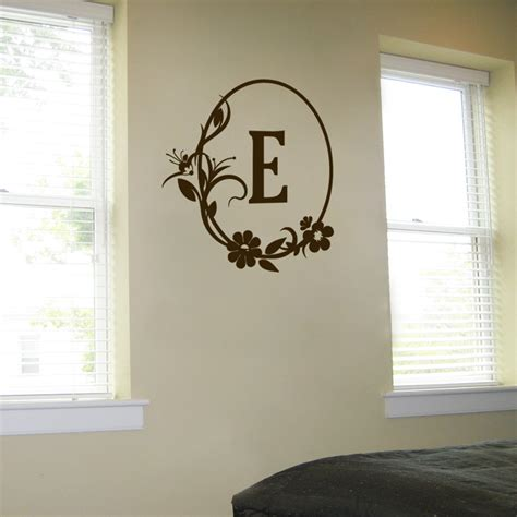 personal wall stickers flowers personalized monogram wall decals