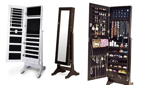 Groupon Jewellery Cabinet wooden mirrored jewelry cabinet groupon goods