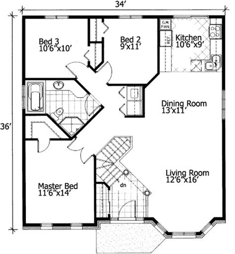 barrier  small house plan pd st floor master