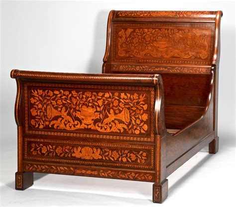 twin size sleigh bed lot 638 continental inlaid sleigh bed twin size