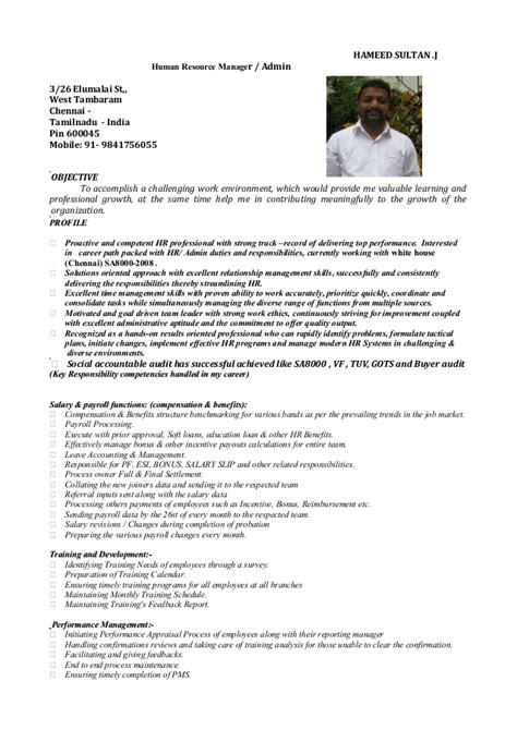 Sle Resume For Bank In India Hr Executive Resume Sle In India Resume Hameed Hr