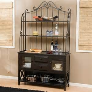 Bakers Rack With Cabinet Hton Wood Bakers Rack Black Traditional Kitchen