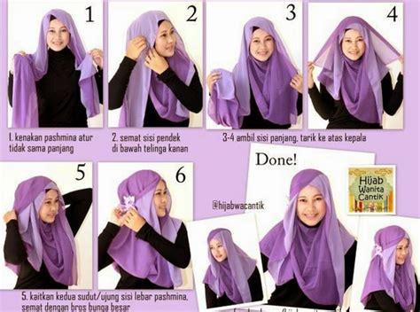 tutorial jilbab pesta 2 jilbab cara memakai jilbab segi empat kreasi