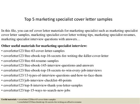 Market Specialist Cover Letter by Top 5 Marketing Specialist Cover Letter Sles