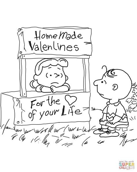 peanuts valentine s day coloring page free printable