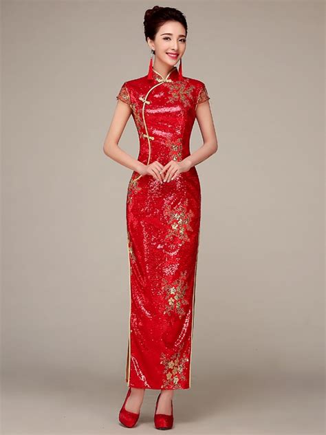 Wedding Qipao by Mandarin Collar Cap Sleeve Sequin Wedding