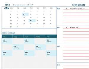 Calendar Templates by Student Calendar Mon Office Templates