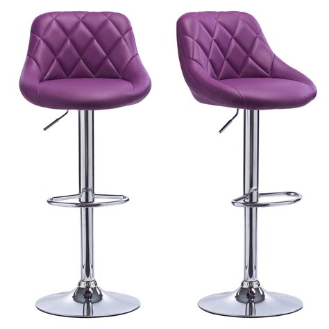 purple breakfast bar stools 2 x bar stools faux leather swivel breakfast kitchen stool