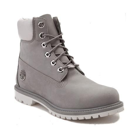 womans timberland boots womens timberland 6 metallic collar premium boot gray