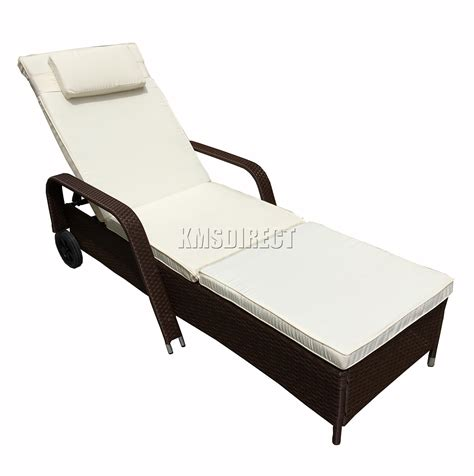 reclining lounger outdoor foxhunter rattan day chair recliner sun bed lounger