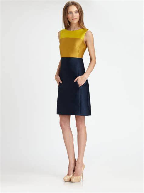 color block dresses akris punto colorblock dress in green citron lyst