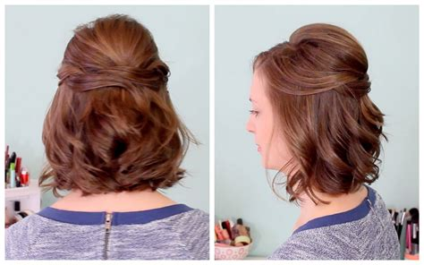 hairstyles for short hair half up easy half up hairstyles for short hair hairstyles