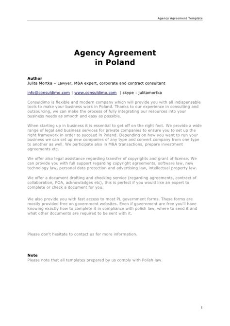 Agency Agreement Agency Contract Template