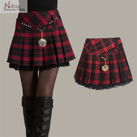 plaid pleated skirt womens dress
