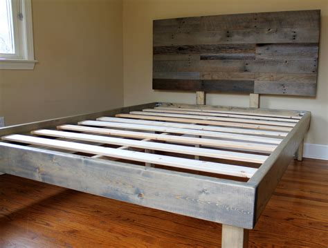 Recycled Wood Bed Frames Reclaimed Wood Bed Weathered Grey Minimalist Bed Frame With