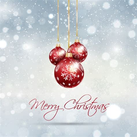 glitter christmas card with baubles vector free download