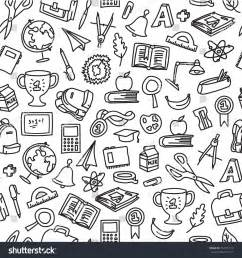 doodle pattern school freehand drawing school pattern seamless doodle stock