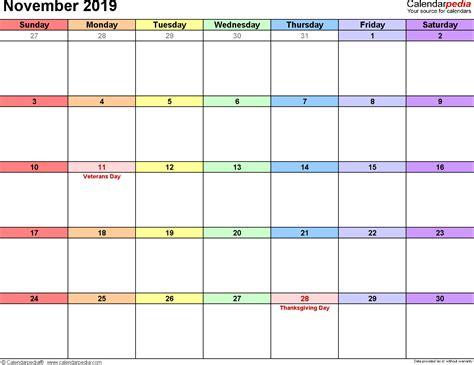 Calendar 2019 November November 2019 Calendars For Word Excel Pdf