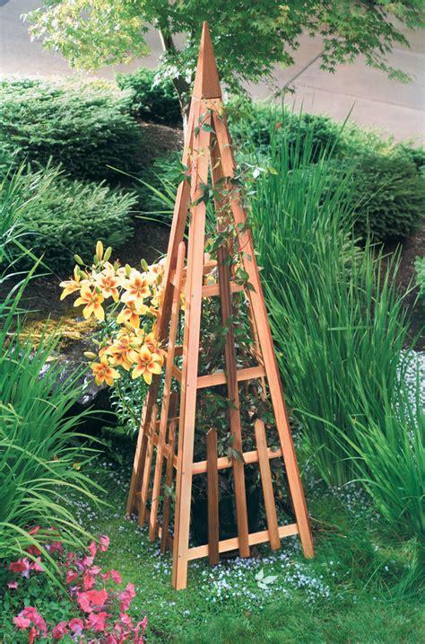 Building Trellises pyramid trellis cedar wood trellis gardeners com