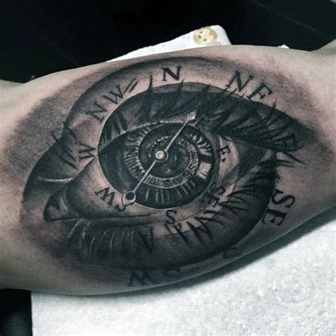 compass eye tattoo meaning 100 inner bicep tattoo designs for men manly ink ideas