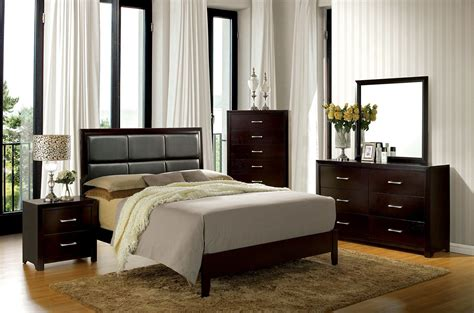 espresso bedroom furniture sets janine espresso upholstered platform bedroom set from