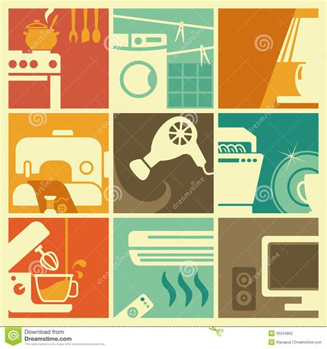 how to make a retro icon style using the appearance panel vintage home appliances icons stock vector illustration