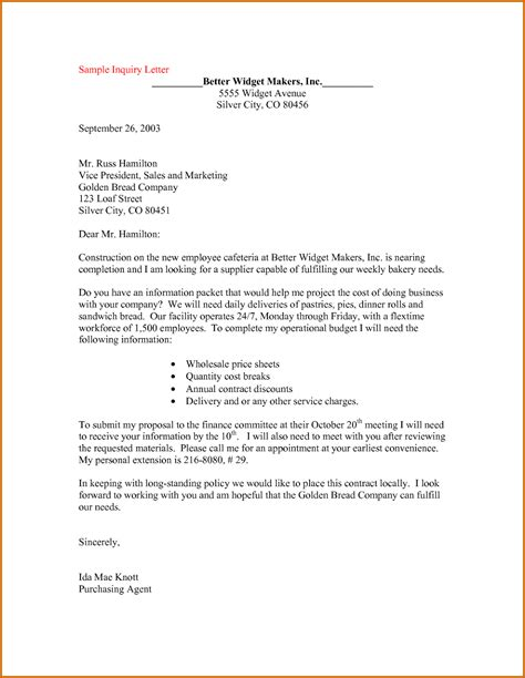 Inquiry Letter Draft 12 How To Write A Letter Of Inquiry Sle Lease Template