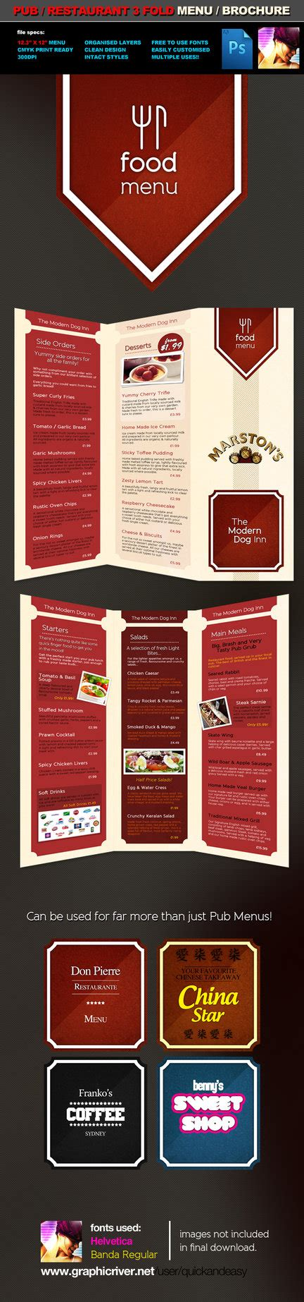 3 fold pub food menu brochure by quickandeasy1 on deviantart
