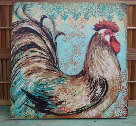 animal home decor large rooster farm animal canvas wall picture primitive