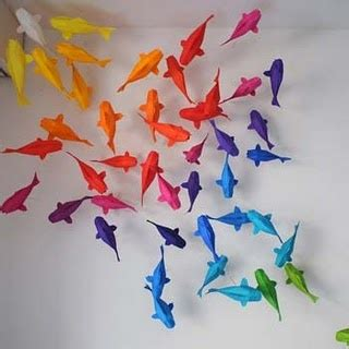 Origami Pond - origami koi fish in rainbow colours rainbow bright