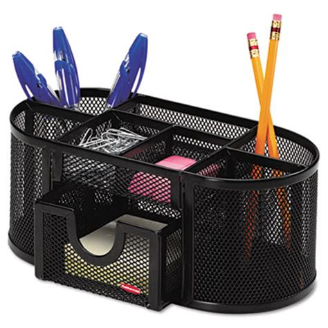 Mesh Pencil Cup Organizer Four Compartments Steel 9 1 3 Desk Organization Accessories