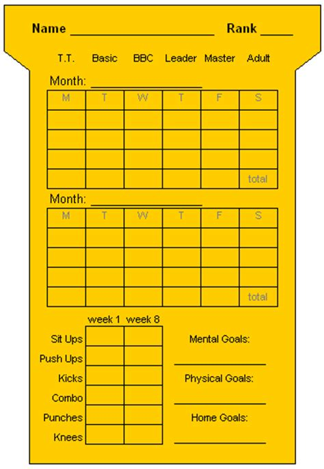 Martial Arts Attendance Card Template by Index Of Images