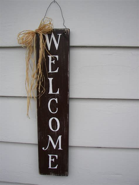 Handmade Signs - welcome primitive distressed wood sign handmade wall