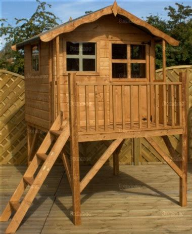 Handmade Wooden Playhouse - platform playhouse 233 with balustrades and ladder