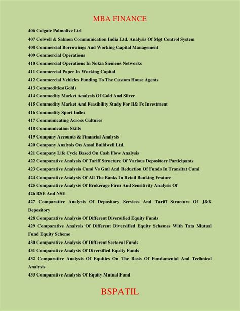 Mba Finance List by Mba Finance Thesis Topics List List Mba Project Topics