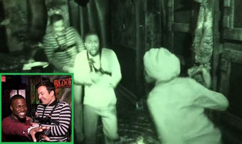 kevin hart haunted house kevin hart freaks out with jimmy fallon in a haunted house