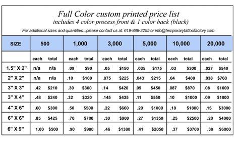 henna tattoo price list temporary tattoos mfg price list custom printed