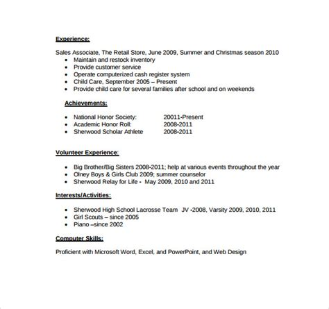 blank resume worksheet for high school students resume for high school student template sle