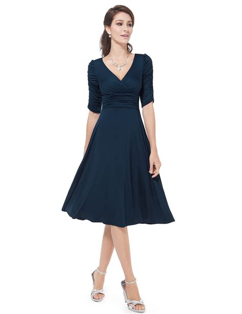 cocktail dress with sleeves v neck pretty