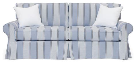 banyan slipcovered 82 quot sofa blue stripe contemporary