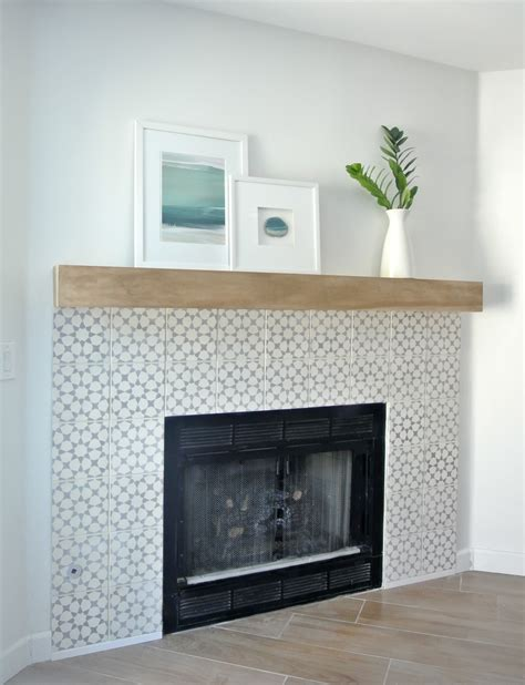 tiled fireplace surround moroccan cement tiles overstock