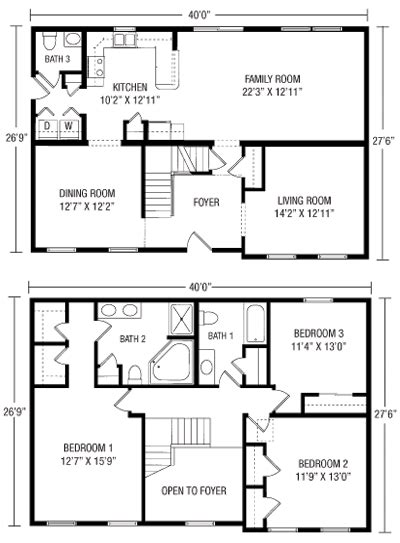 Floor Plan 2 Story House by U And U Modular Homes Two Story Floorplans