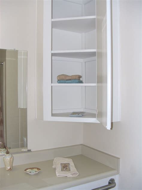 Simple White Wooden Wall Cabinet For Bathroom With Door